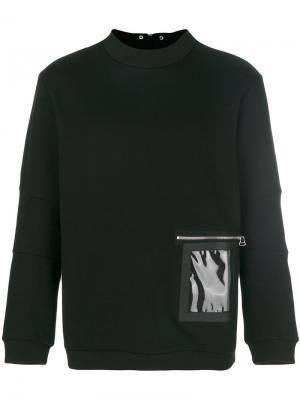 Толстовка с контрастным карманом Oamc. Цвет: чёрный