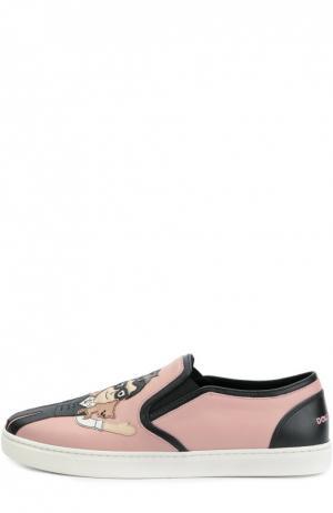 Кожаные слипоны London с аппликациями Dolce & Gabbana. Цвет: розовый