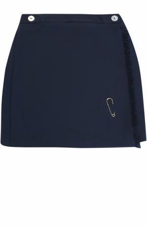 Мини-юбка с бахромой и булавкой Caf. Цвет: темно-синий