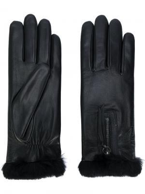 Перчатки с отделкой из кроличьего меха Agnelle. Цвет: чёрный