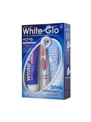 Набор Дневная зубная паста  и ночной гель White Glo. Цвет: синий