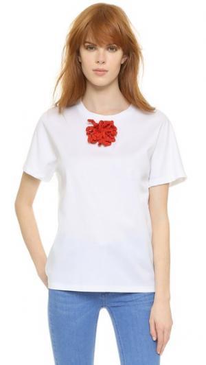 Связанная крючком футболка с декоративной отделкой Vika Gazinskaya. Цвет: белый/красный