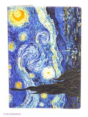 Обложка для паспорта Ван Гог Звездная ночь Mitya Veselkov. Цвет: фиолетовый