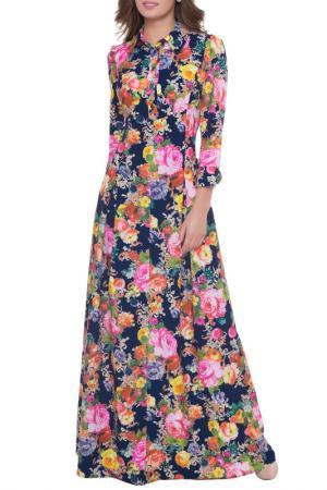 Платье Olivegrey. Цвет: цветы, синий