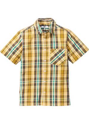 Клетчатая рубашка с принтом (зеленый лайм/шафранно-желтый/дымчато-серый) bonprix. Цвет: зеленый лайм/шафранно-желтый/дымчато-серый