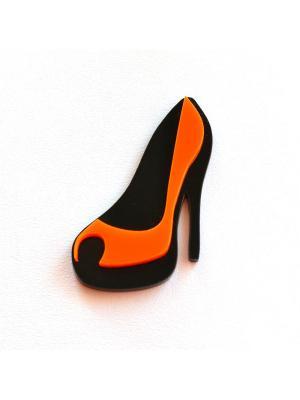 Брошь Оранжевая туфелька Сплетница. Цвет: черный, оранжевый