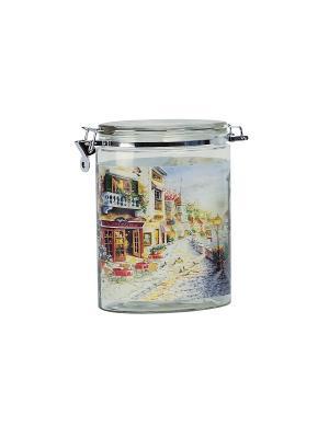 Банка Улицы Флоренции 1800мл Elff Ceramics. Цвет: серебристый, синий