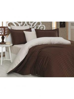 Кпб семейный сатин-жаккард EKOSE, коричнево-кремовый HOBBY HOME COLLECTION. Цвет: коричневый
