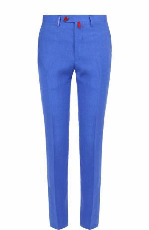 Льняные брюки прямого кроя Kiton. Цвет: голубой