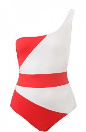 Слитный купальник с асимметричным верхом NATAYAKIM. Цвет: красный