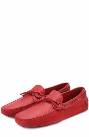 Комбинированные мокасины на шнуровке Tod's. Цвет: красный