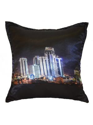 Подушка декоративная, атлас, принт Грозный Сити Dorothy's Нome. Цвет: голубой, фиолетовый, черный