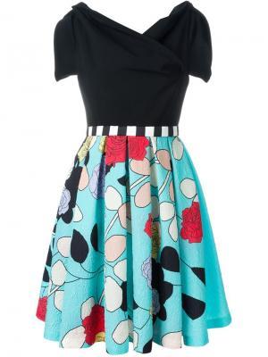 Парчовое платье с цветочным принтом Antonio Marras. Цвет: чёрный