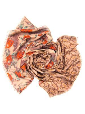 Платок женский, размер 185x70 см Charmante. Цвет: бежевый, красный