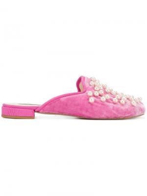 Слиперы с жемчужной отделкой Natasha Zinko. Цвет: розовый и фиолетовый