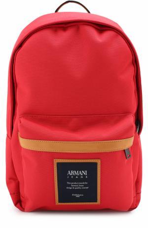 Текстильный рюкзак с внешним карманом на молнии Armani Jeans. Цвет: красный