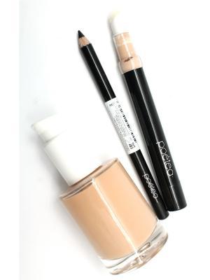 Промо-набор (тональное средство+корректор под глаза+гелевый карандаш глаза АКВА) POETEQ. Цвет: бежевый, светло-бежевый, серый