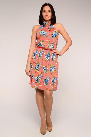 Платье А-силуэта с цветочным принтом PunkQueen. Цвет: красный