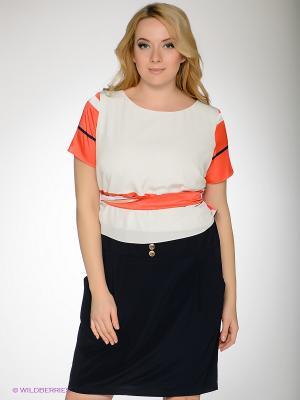Платье Gemko plus size. Цвет: белый, коралловый, синий