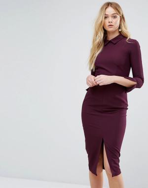 Closet London Платье миди с длинными рукавами и разрезом. Цвет: фиолетовый