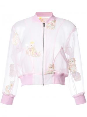 Укороченная куртка с вышивкой кошек Mikio Sakabe. Цвет: розовый и фиолетовый