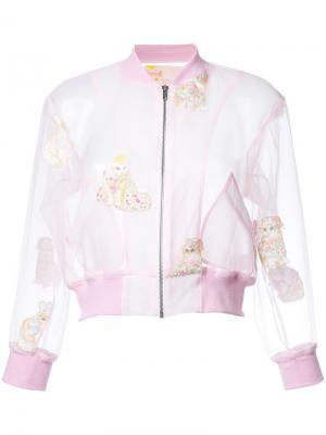 Embroidered cat cropped jacket Mikio Sakabe. Цвет: розовый и фиолетовый