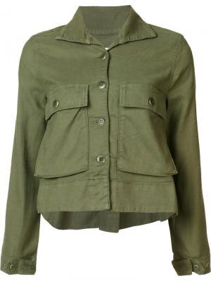 Укороченный пиджак The Great. Цвет: зелёный