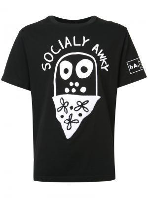 Футболка Socially Awky Haculla. Цвет: чёрный
