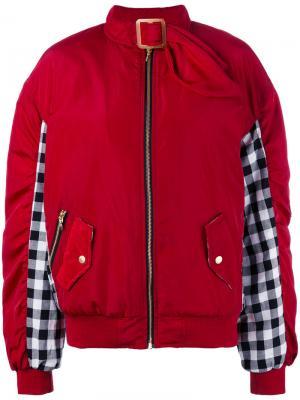 Куртка-бомбер со вставками в клетку гингем House Of Holland. Цвет: красный