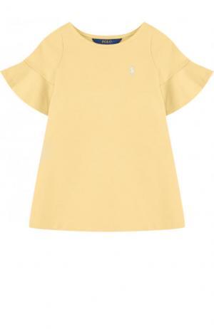 Хлопковое мини-платье А-силуэта Polo Ralph Lauren. Цвет: желтый