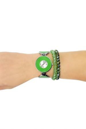Набор: часы, браслет Taya. Цвет: серебристый, зеленый
