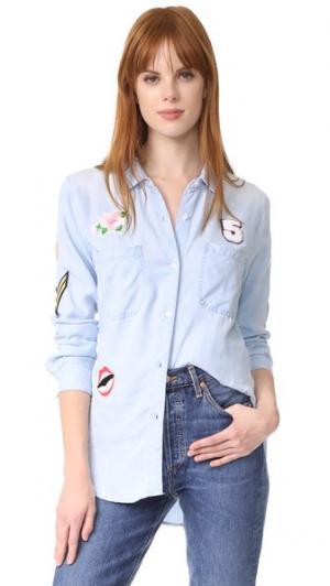 Рубашка Carter с пуговицами и нашивками RAILS. Цвет: светлая винтажная расцветка