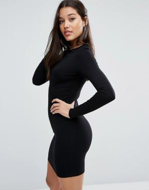 ASOS Облегающее платье мини с длинными рукавами. Цвет: черный