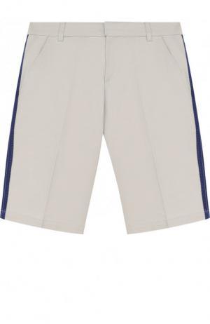 Хлопковые шорты с лампасами Lanvin. Цвет: серый