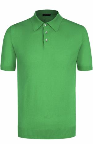Хлопковое поло с короткими рукавами TSUM Collection. Цвет: зеленый