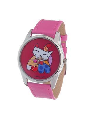 Часы Mitya Veselkov Лоскутная кошка (фуксия) Ат. Color-59. Цвет: фуксия