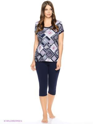 Комплект домашней одежды ( футболка, бриджи) HomeLike. Цвет: темно-синий