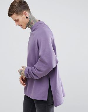 ASOS Длинный оверсайз-свитшот с разрезами по бокам и асимметричным краем AS. Цвет: фиолетовый