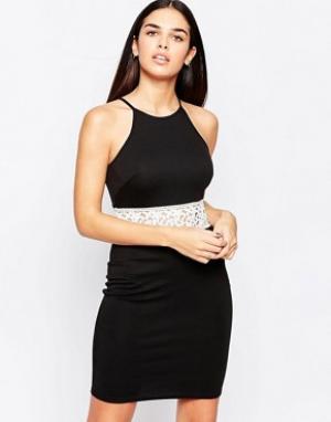 Club L Платье мини со вставкой кроше на талии. Цвет: черный