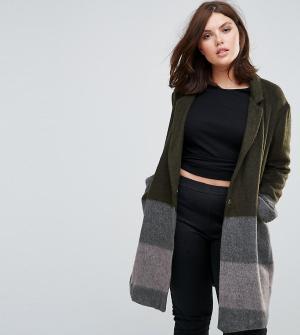 Elvi Пальто в полоску с добавлением шерсти. Цвет: мульти