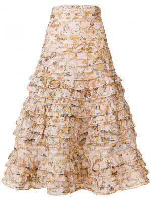 Расклешенная юбка с цветочным принтом Zimmermann. Цвет: розовый и фиолетовый