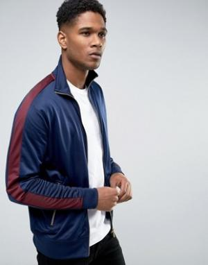 New Look Темно-синяя спортивная куртка с бордовыми полосками. Цвет: темно-синий