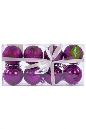 Н-р шаров 6 см, 8 шт., фиолет. НОВОГОДНЯЯ СКАЗКА. Цвет: фиолетовый