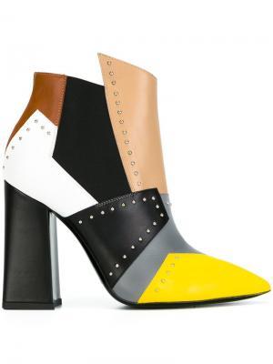 Ботинки колор-блок Pollini. Цвет: зелёный