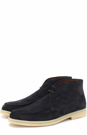 Замшевые ботинки на шнуровке Loro Piana. Цвет: темно-синий