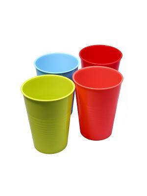 Стакан - 4 шт., 0,4 л. Migura. Цвет: голубой, красный, оранжевый, зеленый