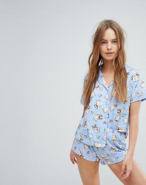 Chelsea Peers Пижама с шортами и принтом. Цвет: синий