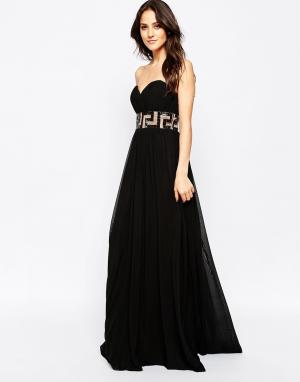 Forever Unique Платье-бандо макси с декоративной отделкой Maida. Цвет: черный