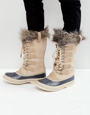 Sorel Бежевые водонепроницаемые замшевые ботинки Joan Of Arctic. Цвет: бежевый