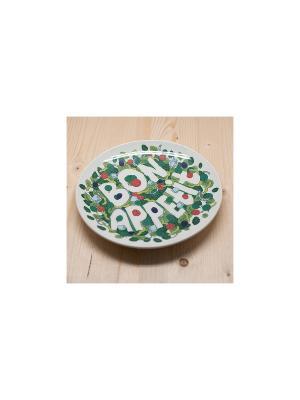Тарелка Бон аппетит! Салат Kawaii Factory. Цвет: зеленый, красный, белый